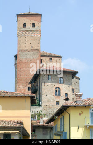 The fort of Serralunga d'Alba in Piedmont,Italy - Stock Photo