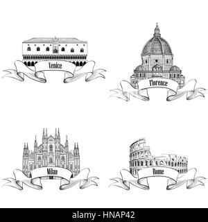Famous italian city label set: Rome, Milan, Venice, Florence. Landmarks of Italy: Dome cathedral in Milan, Doge's - Stock Photo