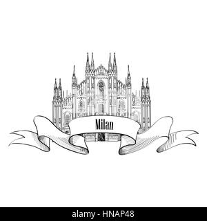 Milan symbol. Travel Italy icon. Hand drawn sketch. Duomo cathedral in Milan - Stock Photo