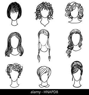 Cute girl faces collection. Women avatars set. Handsome characters flat design. Hand drawn sketch design. - Stock Photo