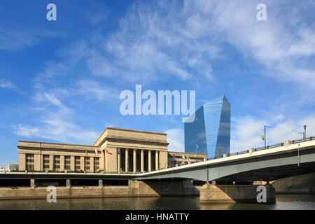 30th Street Train Station and Cira Center, University City, Philadelphia, Pennsylvania. - Stock Photo