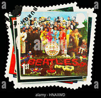 UNITED KINGDOM - CIRCA 2007: A British Used Postage Stamp showing The Beatles Pop Group Album Cover - Stock Photo