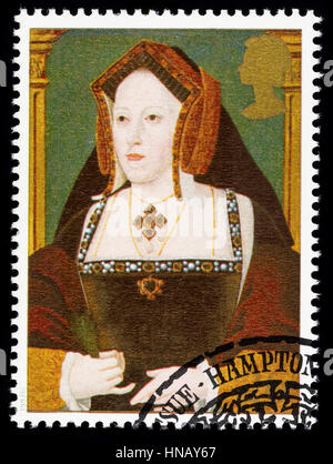 UNITED KINGDOM - CIRCA 1997: used postage stamp printed in Britain commemorating King Henry 8th showing Catherine - Stock Photo