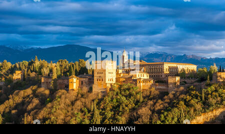 Panorama view of Alhambra palace, Granada, Spain - Stock Photo