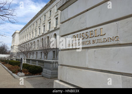 Russell Senate office building, with sign, Washington, DC. Formerly Old Senate Office Building. Offices of US Senators, - Stock Photo