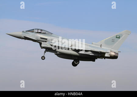 Royal Saudi Air Force Eurofighter EF-2000 landing at RAF Coningsby during the joint RAF/RSAF exercise Green Flag - Stock Photo