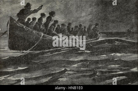 At dawn, the lights of the rescuing ship, Carpathia, appeared on the horizon - as told by survivors of the Titanic - Stock Photo