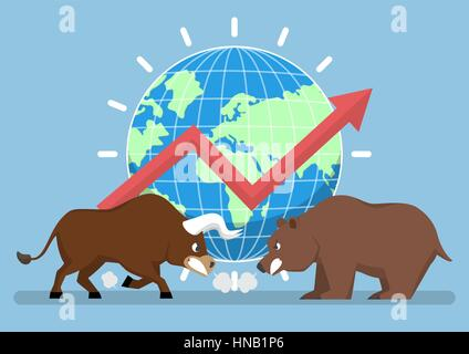 Bull and bear with world and graph in background, stock market trend concept - Stock Photo