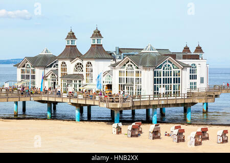 Sellin, Germany - September 22, 2016: Main building of the pier at Sellin, Rügen. Reconstruction of the building - Stock Photo