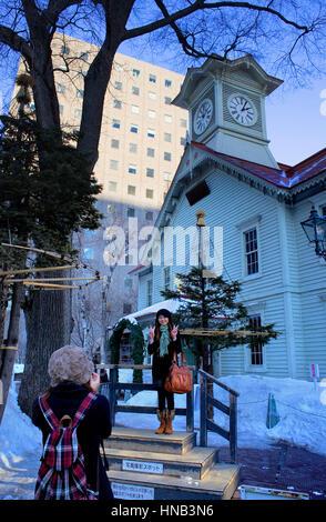 Clock Tower,Sapporo, Hokkaido, Japan - Stock Photo