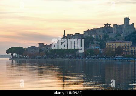 Passignano sul Trasimeno, a beautiful ancient village at the lake, Italy - Stock Photo