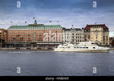 STOCKHOLM, SWEDEN - AUGUST 19, 2016: Grand Hotel in Stockholm is a luxury hotel at Stockholm waterfront and touristic - Stock Photo