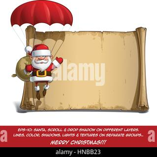 Vector Cartoon illustration of a happy smiling Santa Claus carrying the presents sack and Celebrating Christmas - Stock Photo