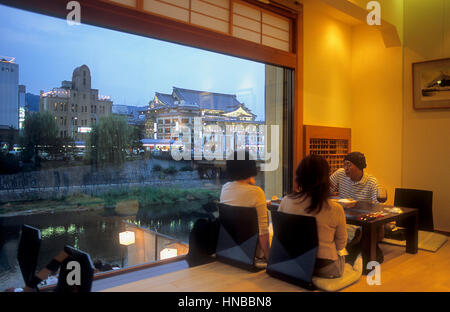 Skyline, from, Quatre seasons restaurant,fusion cuisine  French with japanese,in background Kamo river,Kyoto, Japan - Stock Photo