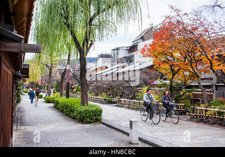 Biking, cycle, Shirakawa-minami-dori, Gion district, Kyoto. Kansai, Japan. - Stock Photo