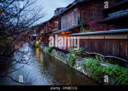Shirakawa-minami-dori, Gion district, Kyoto. Kansai, Japan. - Stock Photo