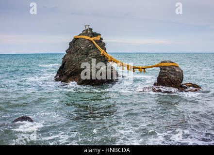 Meoto-Iwa, Wedded Rocks, off the coast of Futamigaura Beach, Futami Town on the in Mie Prefecture, Japan. - Stock Photo