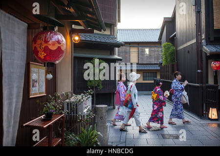 Women, wearing kimono.Geisha's distric of Gion.Kyoto. Kansai, Japan. - Stock Photo