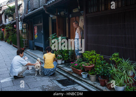 Neighbors of Geisha's distric of Gion.Kyoto. Kansai, Japan. - Stock Photo