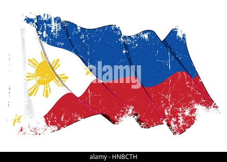 Grunge Vector Illustration of a waving Filipino flag. All elements neatly organized. Texture, Lines, Shading & Flag - Stock Photo