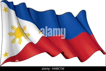 Vector Illustration of a waving Filipino flag. All elements neatly organized. Lines, Shading & Flag Colors on separate - Stock Photo