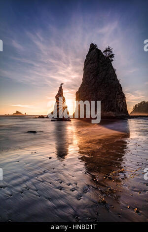 The Coastline of Olympic National Park in Washington State is really beautiful with its rugged , wild beaches and - Stock Photo