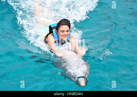 young woman riding dolphin holding his fin - Stock Photo
