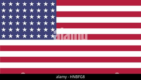 Illustration of a Flat US 48 star flag of the period 1912-1959. This design was used by the US in both World Wars - Stock Photo