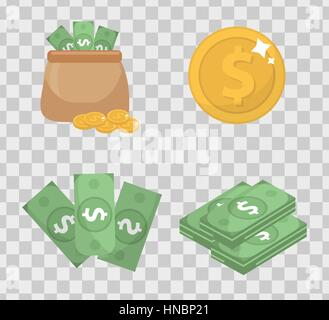 Money and coin set icons flat style, isolated on transparent background. Vector illustration. - Stock Photo