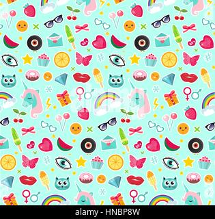 Fashion seamless pattern of patches 80s comic style. Pins, badges and stickers Collection cartoon pop art with a - Stock Photo