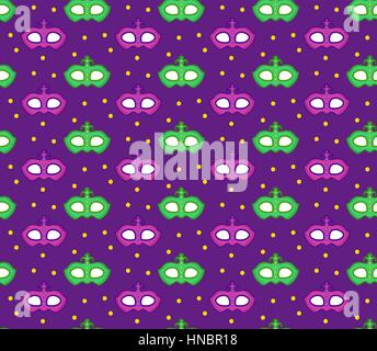 Mardi Gras seamless pattern with carnival mask. Masquerade background, texture, paper. Vector illustration. - Stock Photo