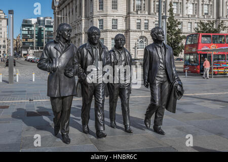 The Beatles statue, Pier Head, Liverpool, UK - Stock Photo
