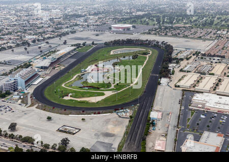 Inglewood, California, USA - March 22, 2014: Aerial of historic Hollywood Park race track which recently closed - Stock Photo