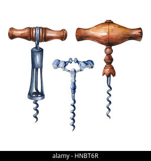 Watercolor antique set of corkscrews- vintage accessory. Hand drawn painting on white background. - Stock Photo