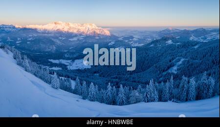 Rural Winter Landscape in the Austrian Alps near Salzburg, Bavaria, Germany Stock Photo
