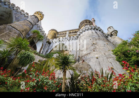 Facade of Pena national palace in Sintra, Portugal. - Stock Photo