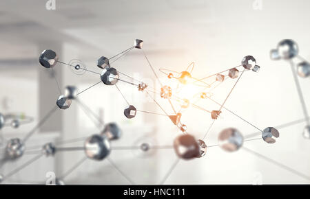Concept of social connection and networking on dark background. 3D rendering - Stock Photo
