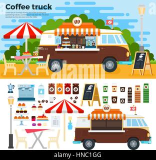 Coffee Truck Vector Flat Illustrations Vintage On The Street In City