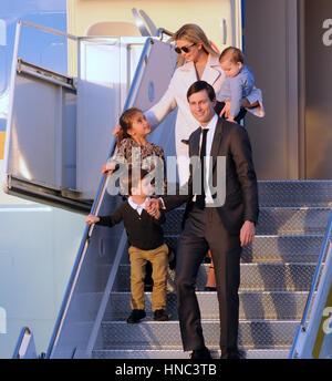 West Palm Beach, Florida, USA. 10th Feb, 2017. Ivanka Trump (top L), her husband, Jared Kushner (bottom R), and - Stock Photo