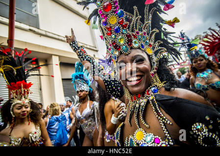 Sao Paulo, Brazil. 10th Feb, 2017. Revelers pose during street Carnival celebrations. Street carnival in Sao Paulo, - Stock Photo