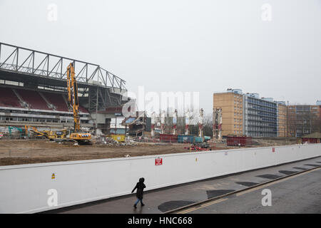 London, UK. 11th February, 2017. The Sir Trevor Brooking Stand at the Boleyn Ground, West Ham United's former stadium - Stock Photo