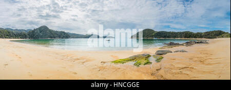 Anchorage Bay Beach, Abel Tasman National Park, Tasman Region, Southland, New Zealand - Stock Photo