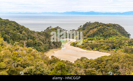 View of sea and beach, Abel Tasman National Park, Tasman Region, Southland, New Zealand - Stock Photo