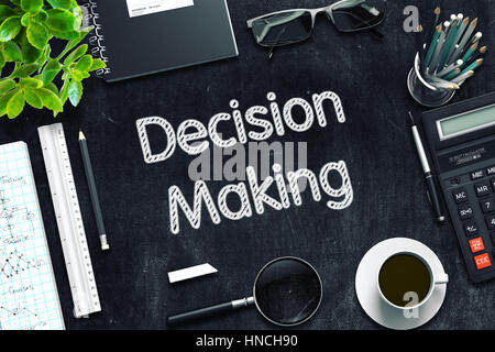 Decision Making Concept on Black Chalkboard. 3D Rendering. - Stock Photo