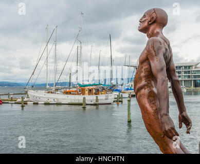 Statue, Solace of the Wind, Wellington Harbour, North Island, New Zealand - Stock Photo