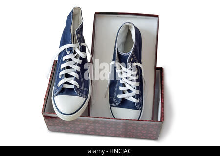 Convenient for sports mens sneakers in dark blue thick fabric. Presented on a white background. - Stock Photo