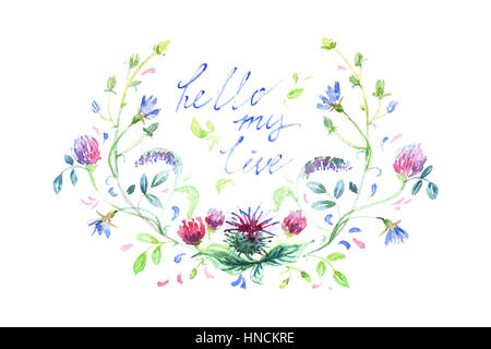 Spring flowers painted in watercolor, hello monday - Stock Photo