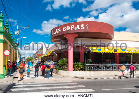'Las Copas' ice cream parlor in the pedestrian walk or boulevard in the historic center of the city - Stock Photo