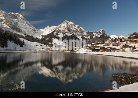 A photograph of lake Eugenisee at Engelberg in the canton of Obwalden, Switzerland. In winter it is surrounded with - Stock Photo