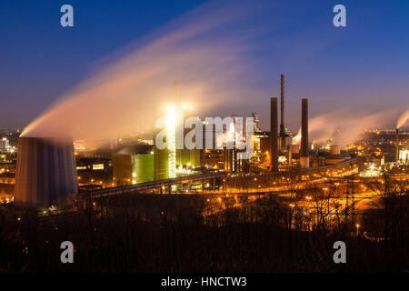 Germany, North Rhine-Westphalia, Ruhr area, Duisburg, ThyssenKrupp Steel plant in the district Bruckhausen, view - Stock Photo